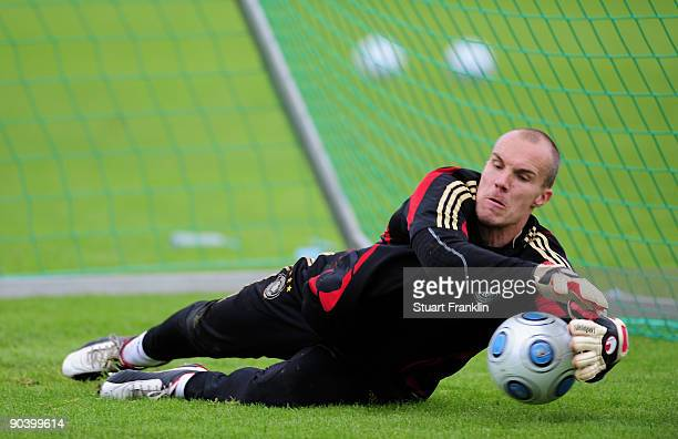 Robert Enke of Germany is seen during a training session of the German national football team at the Sued Stadium on September 6 2009 in Cologne...