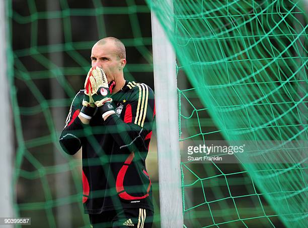 Robert Enke of Germany looks on during a training session of the German national football team at the Sued Stadium on September 6 2009 in Cologne...