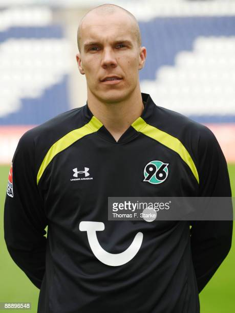 Robert Enke poses during the Bundesliga Team Presentation of Hannover 96 at the AWD Arena on July 8 2009 in Hanover Germany