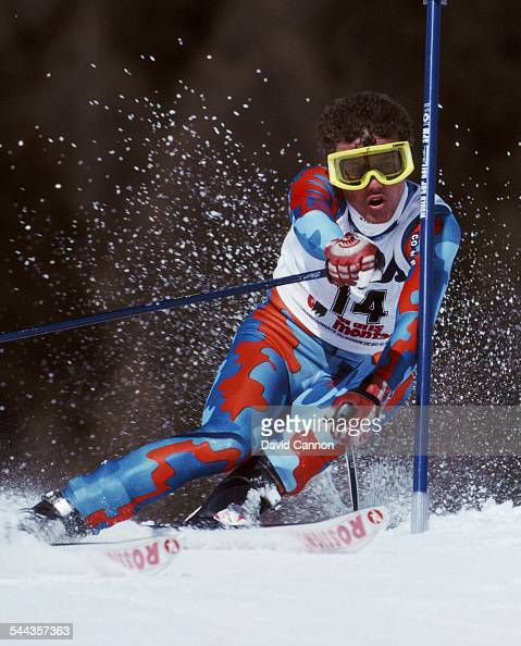 Robert Erlacher of Italy during the International Ski Federation Men's Giant Slalom at the FIS Alpine World Ski Championship on 4 February 1987 in...