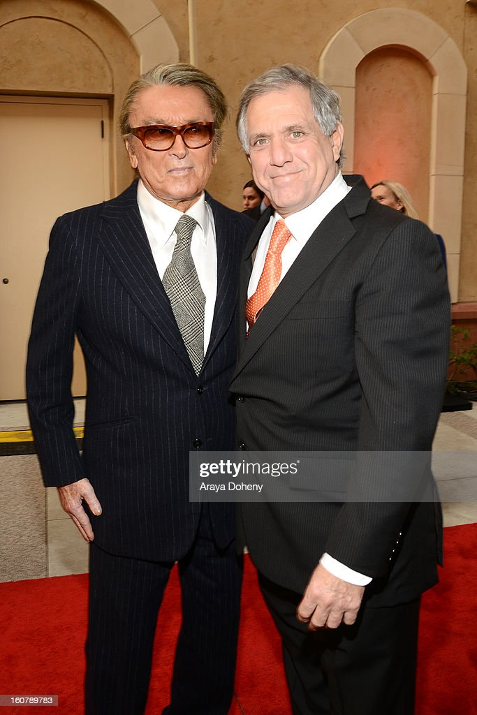 Robert Evans and Les Moonves attend the dedication of the Sumner M. Redstone Production Building at USC on February 5, 2013 in Los Angeles, California.