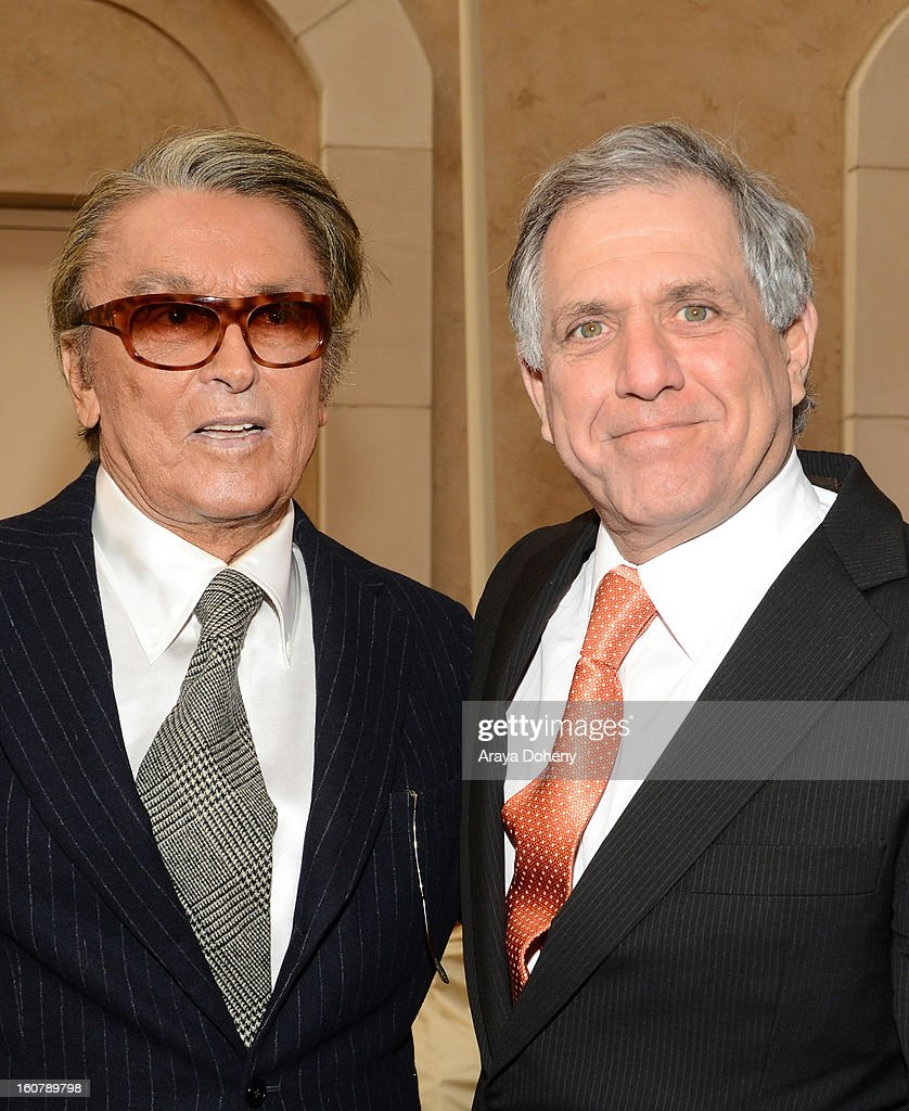 Robert Evans and <a gi-track='captionPersonalityLinkClicked' href=/galleries/search?phrase=Les+Moonves&family=editorial&specificpeople=210763 ng-click='$event.stopPropagation()'>Les Moonves</a> attend the dedication of the Sumner M. Redstone Production Building at USC on February 5, 2013 in Los Angeles, California.