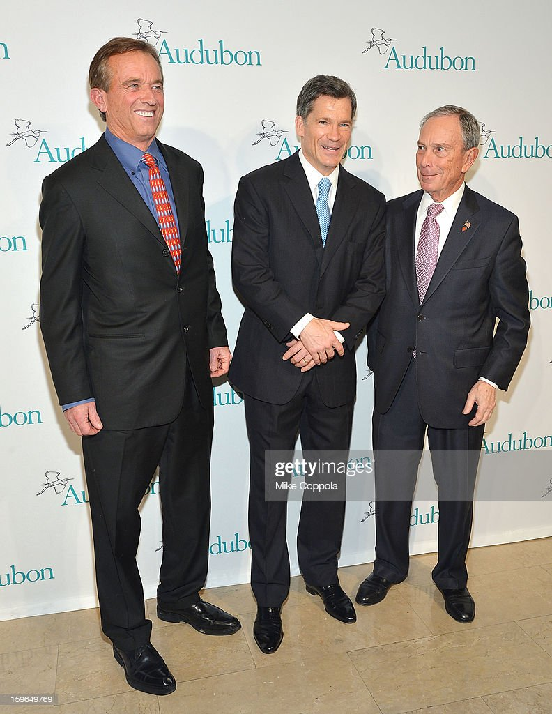 Robert F. Kennedy; Jr., Louis Bacon, and New York City Mayor <a gi-track='captionPersonalityLinkClicked' href=/galleries/search?phrase=Michael+Bloomberg&family=editorial&specificpeople=171685 ng-click='$event.stopPropagation()'>Michael Bloomberg</a> attend the 2013 National Audubon Society Gala Dinner on January 17, 2013 in New York, United States.