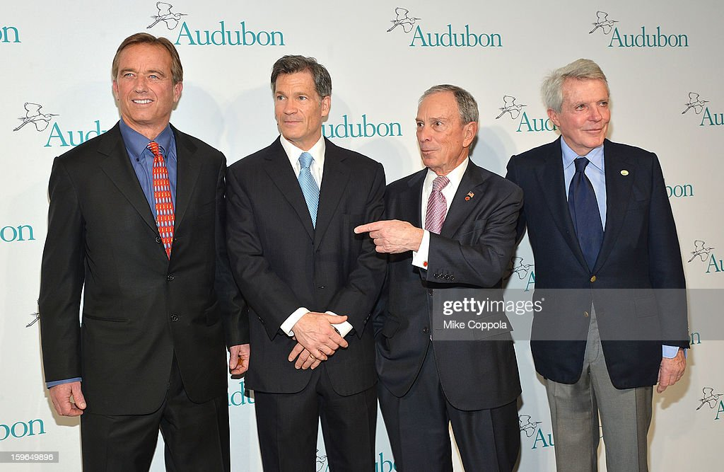 Robert F. Kennedy; Jr., Louis Bacon, New York City Mayor Michael Bloomberg, and Dan Lufkin attend the 2013 National Audubon Society Gala Dinner on January 17, 2013 in New York, United States.