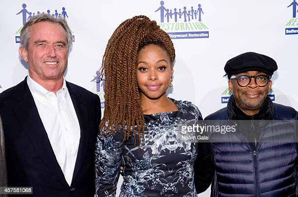Robert F Kennedy Jr singer Chrisette Michele and Spike Lee attend the 2014 Restore Brooklyn Benefit at Frederick P Rose Hall Jazz at Lincoln Center...