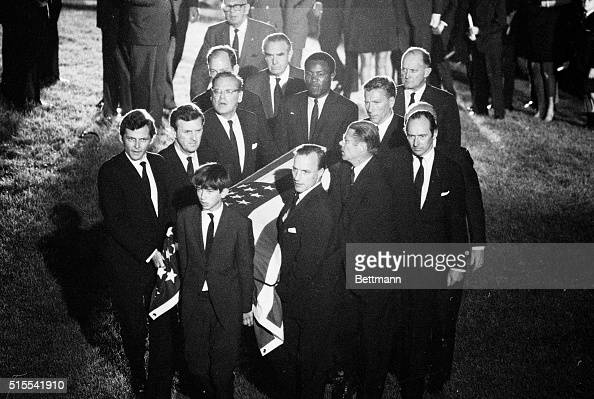 Robert F Kennedy Jr son of the slain Senator Robert F Kennedy leads pallbearers as they carry Senator Kennedy's casket to the gravesite at Arlington...