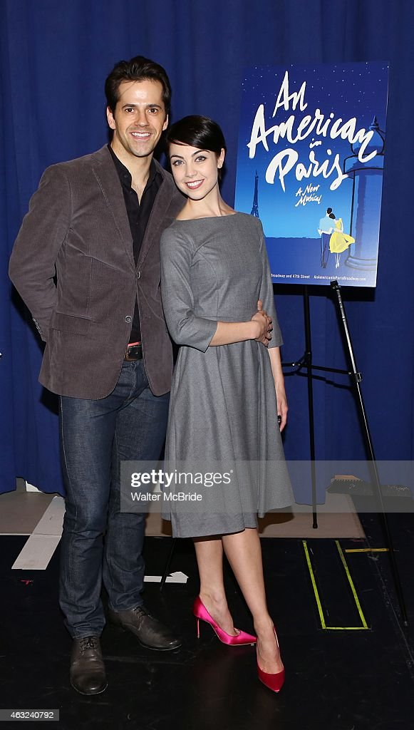 Robert Fairchild and Leanne Cope attend 'An American In Paris' cast photo call at The New 42nd Street Studios on February 11 2015 in New York City