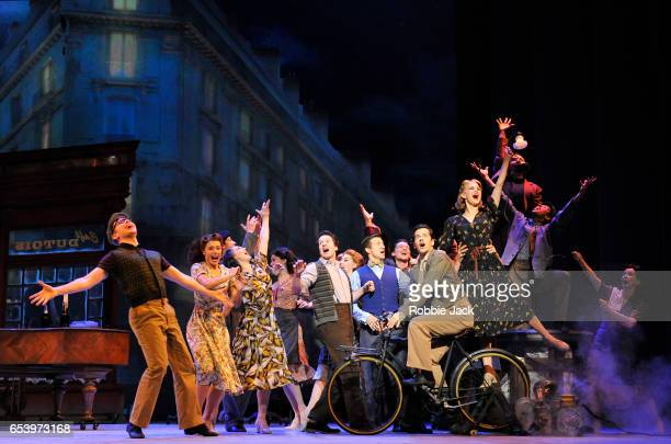 Robert Fairchild as Jerry Mulligan with artists of the company in An American in Paris choreographed and directed by Christopher Wheeldon at The...