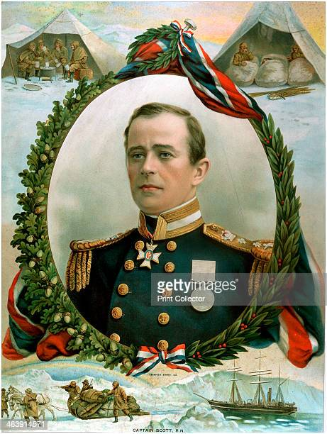 Robert Falcon Scott British Antarctic explorer 1914 Portrait surrounded by vignettes of his fatal expedition to South Pole Bottom 'Terra Nova' the...