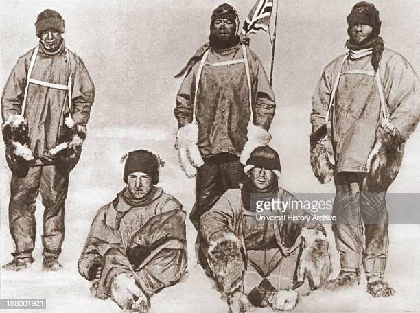 Robert Falcon Scott's Party At The South Pole 18 January 1912 During The Terra Nova Expedition Left To Right Standing Edward Adrian Wilson Uncle Bill...