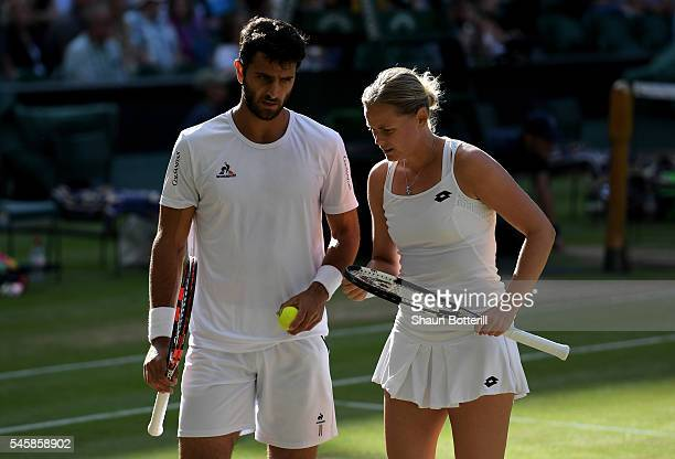 Robert Farah of Columbia and AnnaLena Groenefeld of Germany in conversation during the Mixed Doubles Final against Heather Watson of Great Britain...
