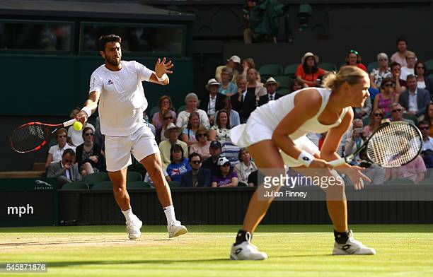 Robert Farah of Columbia plays a forehand during the Mixed Doubles Final against Heather Watson of Great Britain and Henri Kontinen of Finland on day...