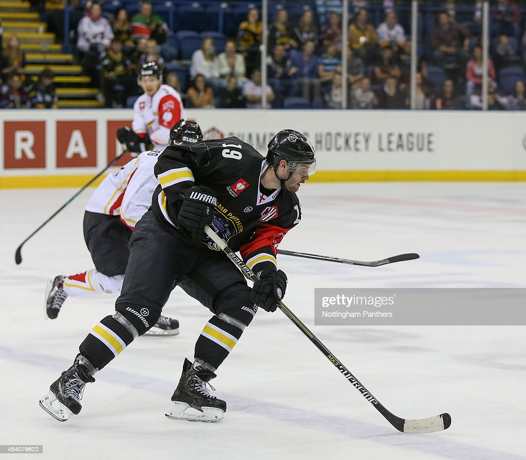 Robert Farmer #19 of Nottingham Panthers in action during the Champions Hockey League group stage game between Nottingham Panthers and Lulea Hockeyat at the National Ice Centre on August 24, 2014 in Nottingham, England.