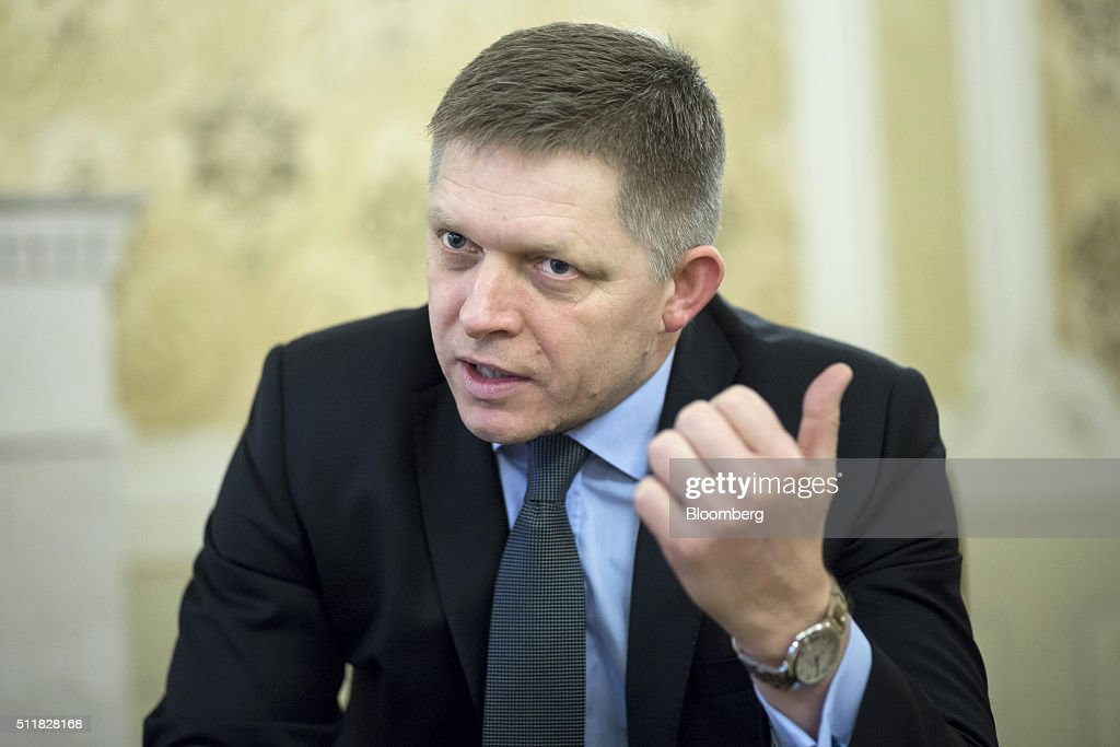 <a gi-track='captionPersonalityLinkClicked' href=/galleries/search?phrase=Robert+Fico&family=editorial&specificpeople=555594 ng-click='$event.stopPropagation()'>Robert Fico</a>, Slovakia's prime minister, gestures whilst speaking during an interview at his office in Bratislava, Slovakia, on Tuesday, Feb. 23, 2016. Fico, whose country takes over the rotating European Union presidency in July, said he cant imagine how Europe would handle such a siege if migrants from Ukraine join those heading to the continent from the Middle East, Africa and Asia. Photographer: Balazs Mohai/Bloomberg via Getty Images