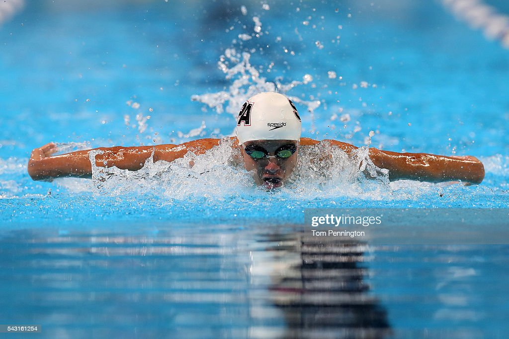 Robert Finke of the United States competes in a preliminary heat for the Men's 400 Meter Individual Medley during Day One of the 2016 U.S. Olympic Team Swimming Trials at CenturyLink Center on June 26, 2016 in Omaha, Nebraska.