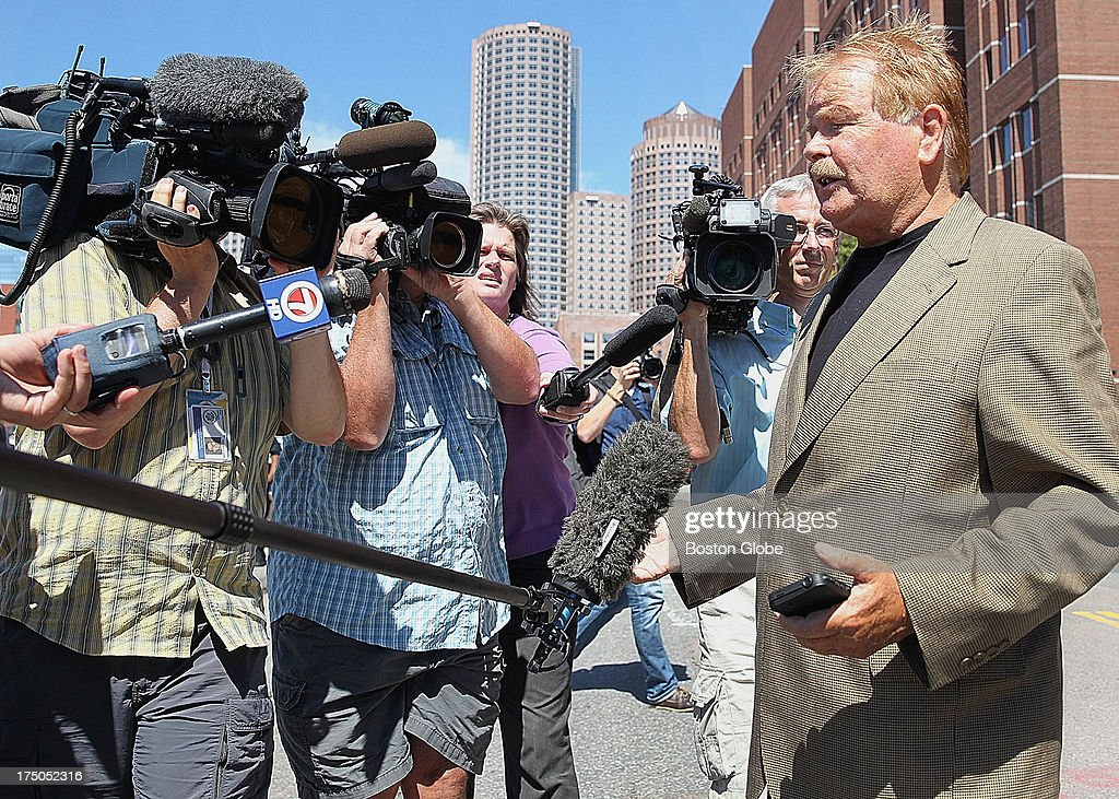 Robert Fitzpatrick, formerly of the FBI, spoke to reporters following his testimony today. The trial of James 'Whitey' Bulger continues at the John Joseph Moakley United States Courthouse in Boston, July 30, 2013.