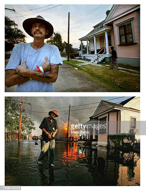 Robert Fontaine looks on at the scene where he fled a burning house fire in the aftermath of Hurricane Katrina August 23 2010 in New Orleans...