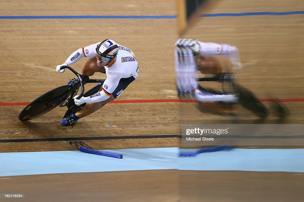 Robert Forstemann of Germany during qualification in the men's sprint on day four of the UCI Track World Championships at Minsk Arena on February 23, 2013 in Minsk, Belarus.
