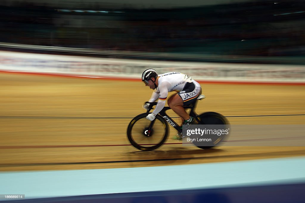 Robert Forstemann of Germany in action during Men's Sprint Qualifying on day three of the UCI Track Cycling World Cup at Manchester Velodrome on November 3, 2013 in Manchester, England.