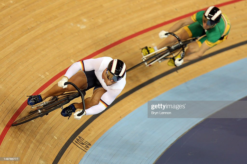 Robert Forstemann of the Germany (L) beats Bernard Esterhuizen of South Africa during Men's Sprint Track Cycling 1/16 Finals on Day 8 of the London 2012 Olympic Games at Velodrome on August 4, 2012 in London, England.