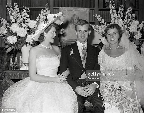 Robert Francis Kennedy and his bride the former Ethel Skakel and the groom's sisterEunice Kennedy who was a bridesmaid at the wedding are enjoying a...