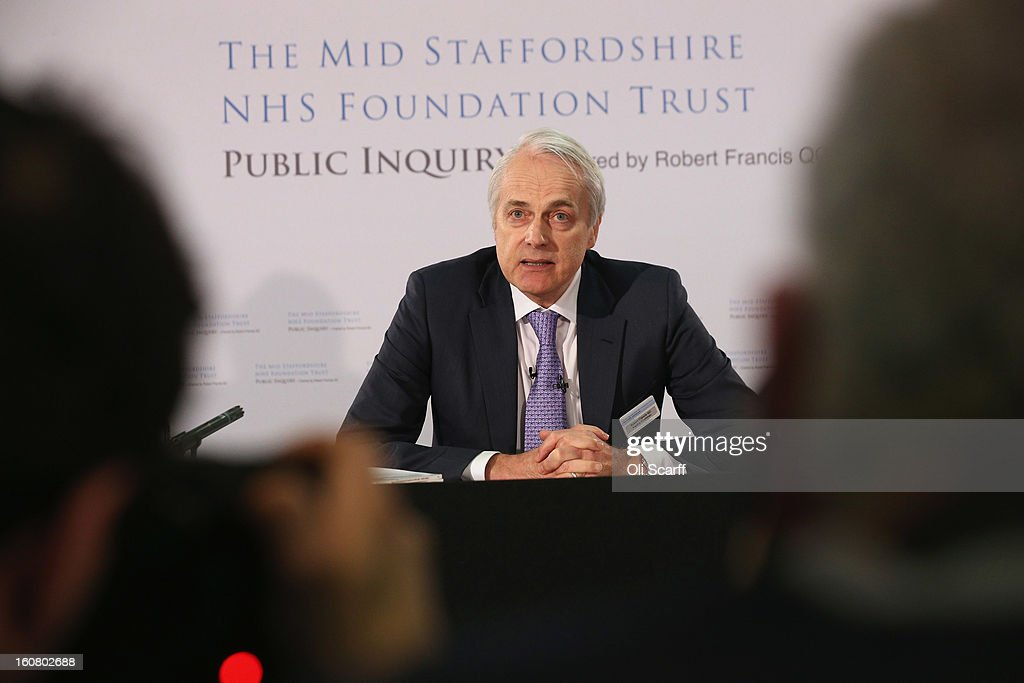 Robert Francis QC delivers a summary of his report of the Mid Staffordshire NHS Trust Foundation Public Inquiry on February 6, 2013 in London, England. The report examines the commissioning, supervisory and regulatory bodies in the monitoring of Mid Staffordshire hospital between January 2005 and March 2009. The report will be laid before Parliament at 11:30am today and will consider the reasons why serious problems at the Trust were not identified and rectified sooner, and identify lessons to be learnt for future patient care.