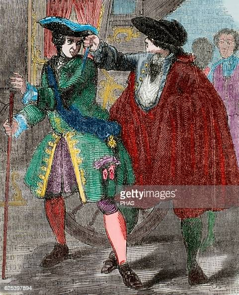 Robert Francois Damiens French domestic servant Attempted assassination of King Louis XV of France in 1757 Engraving by Dupre Colored