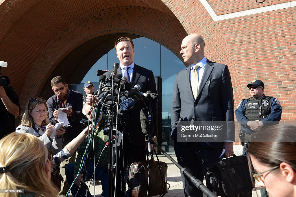 Robert G. Stahl, attorney for Dias Kadyrbayev, speaks to reporters outside the John Joseph Moakley Courthouse alongside Harlan J. Protass, attorney for Azamat Tazhayakov, May 1, 2013 in Boston, Massachusetts. Kadyrbayev and Tazhayakov have been arrested for aiding and abetting the Tsarnaev brothers after the Marathon bombings.