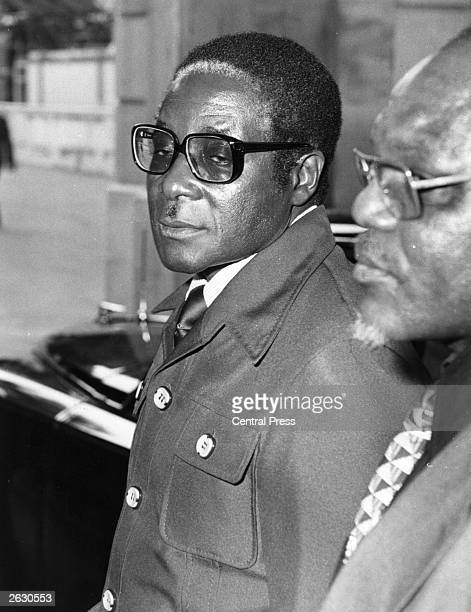 Robert Gabriel Mugabe the African nationalist and Zimbabwean politician arriving at Lancaster House London England for the start of the British...