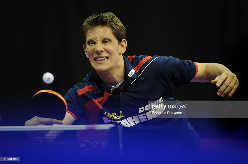 <a gi-track='captionPersonalityLinkClicked' href=/galleries/search?phrase=Robert+Gardos&family=editorial&specificpeople=2160529 ng-click='$event.stopPropagation()'>Robert Gardos</a> of Austria competes against Wong Chun Ting of Hong Kong during the 2016 World Table Tennis Championship Men's Team Division round 16 match at Malawati Stadium on March 3, 2016 in Shah Alam, Malaysia.