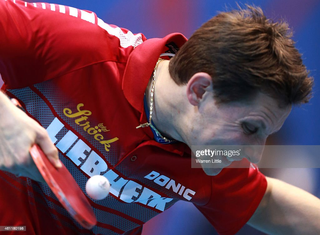 <a gi-track='captionPersonalityLinkClicked' href=/galleries/search?phrase=Robert+Gardos&family=editorial&specificpeople=2160529 ng-click='$event.stopPropagation()'>Robert Gardos</a> of Austria in action against Jike Zhang of China during day one of the ITTF World Team Cup at the Al Nasr Sports Club on January 8, 2015 in Dubai, United Arab Emirates.