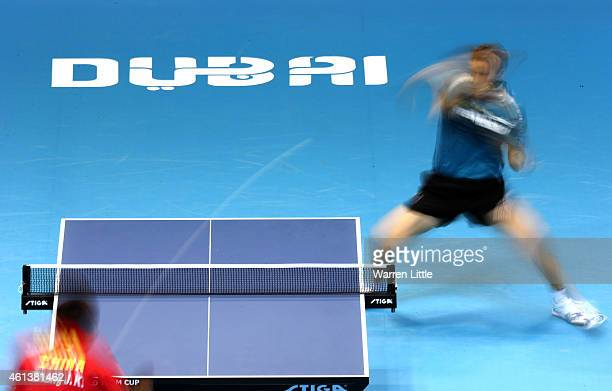 Robert Gardos of Austria in action against Zhang Jike of China during the Men's Final of the 2015 ITTF World Team Cup at Al Nasr Sports Stadium on...