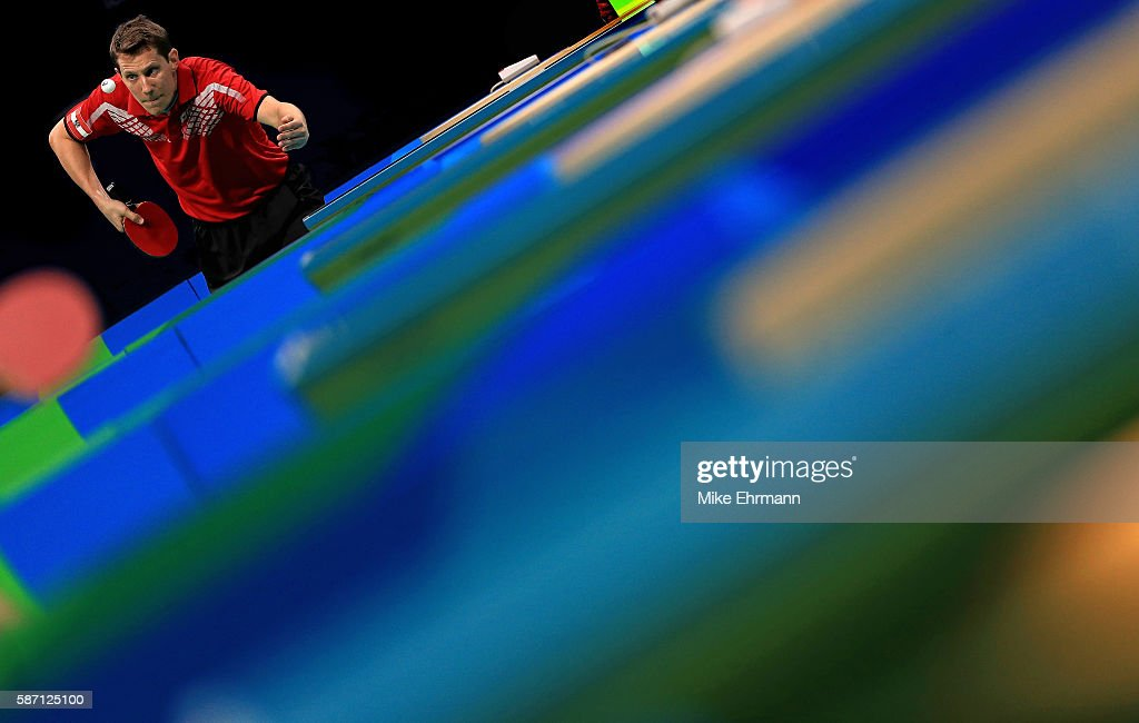 Robert Gardos of Austria plays a Men's Singles second round match against Ovidiu Ionescu of Romania on Day 2 of the Rio 2016 Olympic Games at Riocentro - Pavilion 3 on August 7, 2016 in Rio de Janeiro, Brazil.