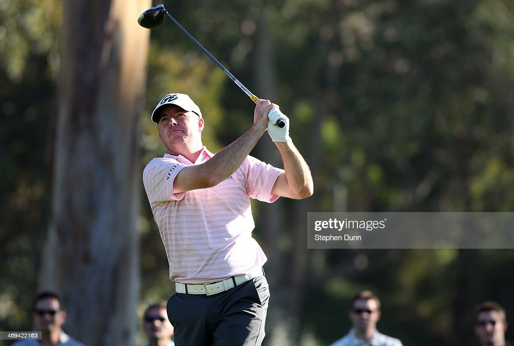 Robert Garrigus hits a tee shot on the 9th hole in the second round of the Northern Trust Open at the Riviera Country Club on February 14, 2014 in Pacific Palisades, California.