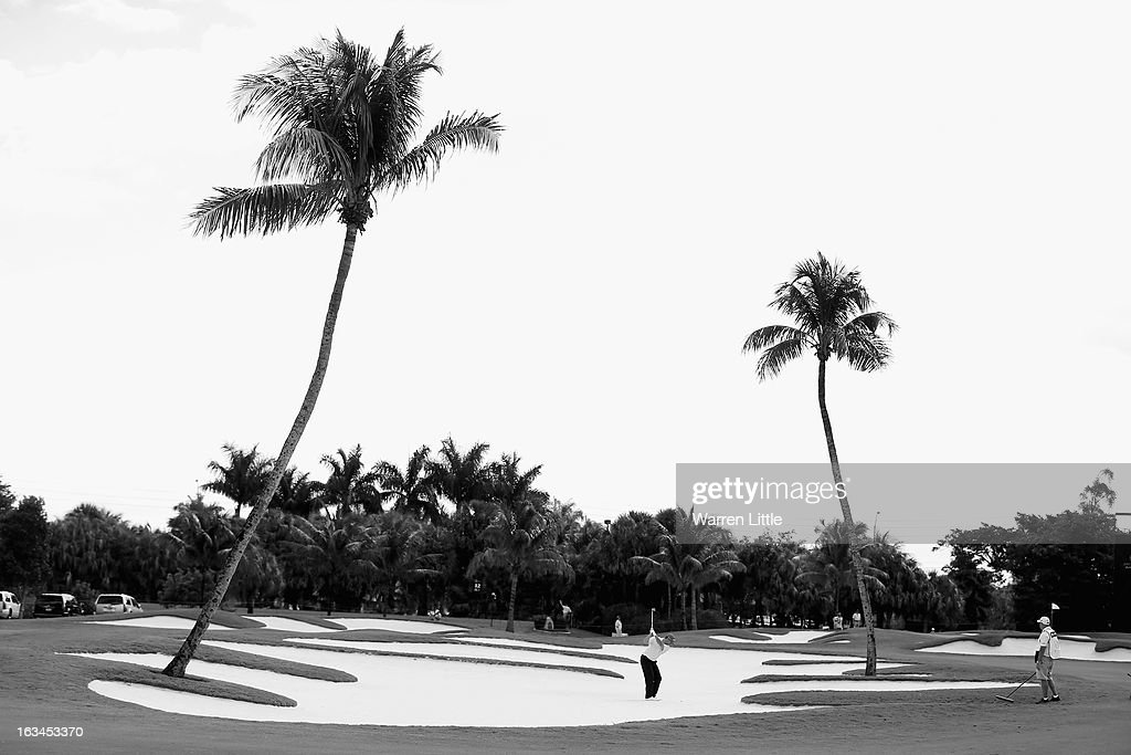 Robert Garrigus of the USA plays his second shot on the 11th hole during the final round of the WGC - Cadillac Championship at the Trump Doral Golf Resort & Spa on March 10, 2013 in Doral, Florida.