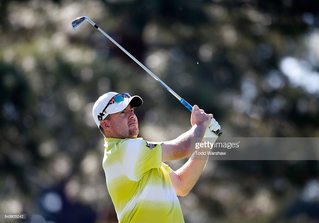 <a gi-track='captionPersonalityLinkClicked' href=/galleries/search?phrase=Robert+Garrigus&family=editorial&specificpeople=3232930 ng-click='$event.stopPropagation()'>Robert Garrigus</a> plays his shot from the third tee during the first round of the Barracuda Championship at the Montreux Golf and Country Club on June 30, 2016 in Reno, Nevada.