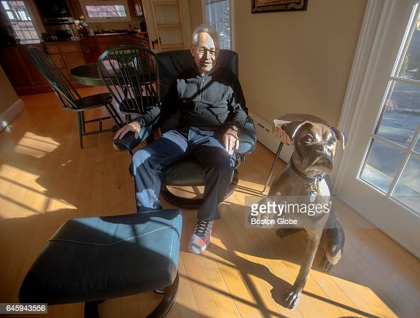 Robert Gaynor a retired attorney turned sculptor sits with his sculpture of his dog in his Newton MA home on Jan 16 2017