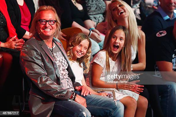 Robert Geiss and his daughters Davina und Shania attend the 5th show of 'Let's Dance' on RTL at Coloneum on May 2 2014 in Cologne Germany