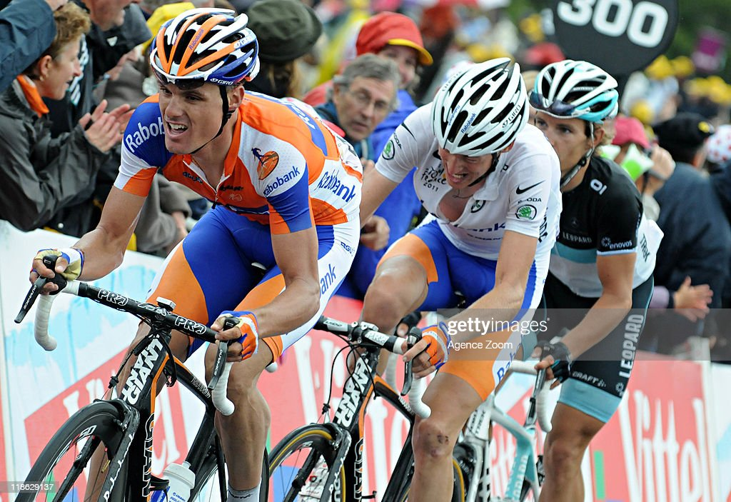 <a gi-track='captionPersonalityLinkClicked' href=/galleries/search?phrase=Robert+Gesink&family=editorial&specificpeople=863459 ng-click='$event.stopPropagation()'>Robert Gesink</a> of Team Rabobank Cycling Team during Stage 8 of the Tour de France on July 9, 2011 Aigurande to Super-Besse Sancy, France.