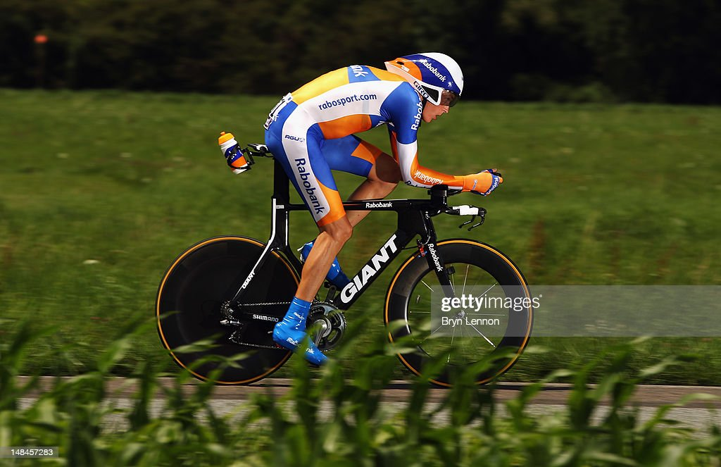 Robert Gesink of the Netherlands and the Rabobank Cycling Team in action during stage nine of the 2012 Tour de France, a 41.5km individual time trial, from Arc-et-Senans to Besancon on July 9, 2012 in Besancon, France.