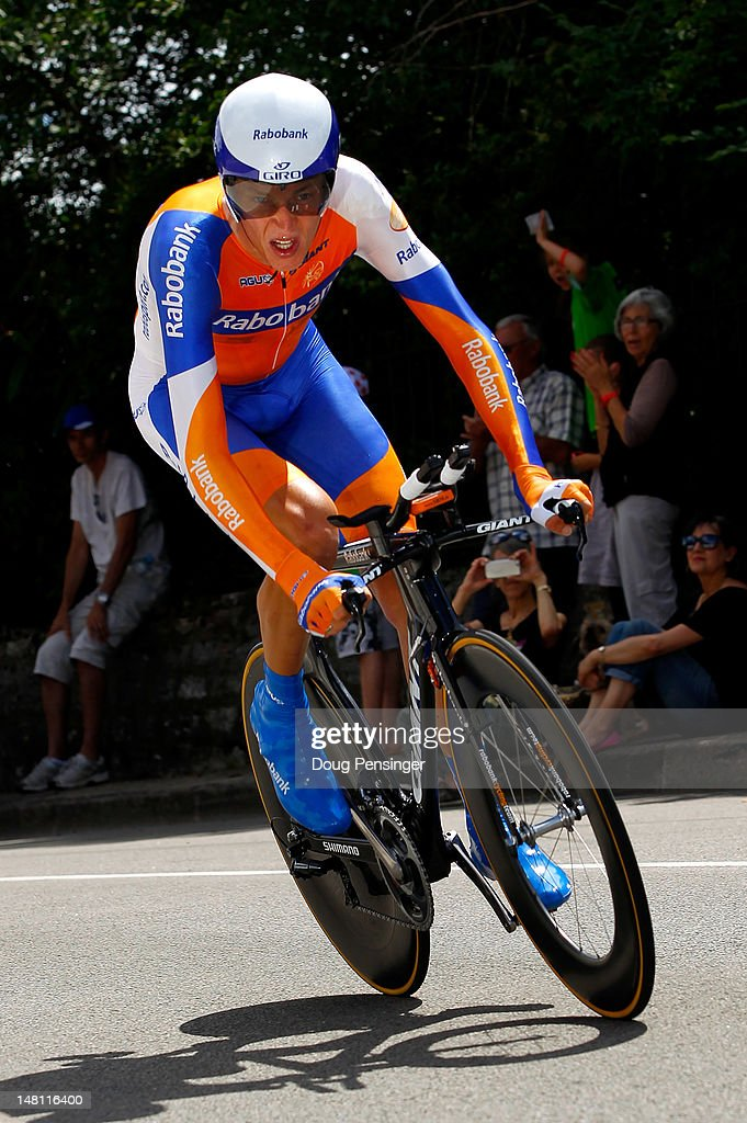 Robert Gesink of the Netherlands riding for Rabobank competes in the individual time trial on stage nine of the 2012 Tour de France from Arc-et-Senans to Besancon on July 9, 2012 in Besancon, France.