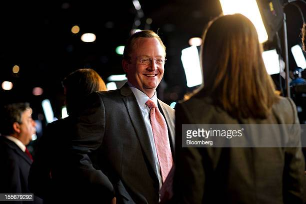Robert Gibbs former White House Press Secretary and currently a senior adviser to President Barack Obama's reelection campaign smiles following an...