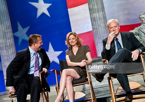 Robert Gibbs Lizzie O'Leary and Chris Matthews speak during press conference before a taping of Jeopardy Power Players Week at DAR Constitution Hall...