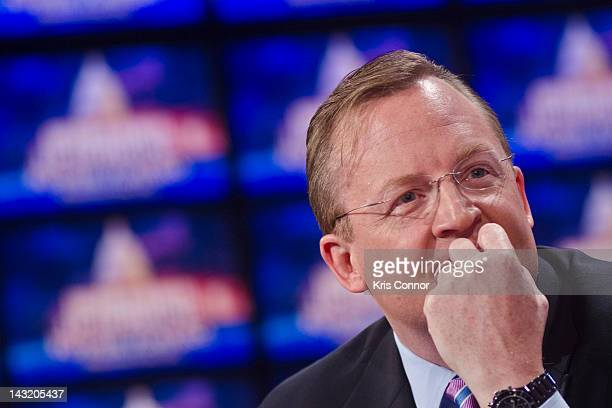 Robert Gibbs speak during a press conference before a taping of Jeopardy Power Players Week at DAR Constitution Hall on April 21 2012 in Washington DC