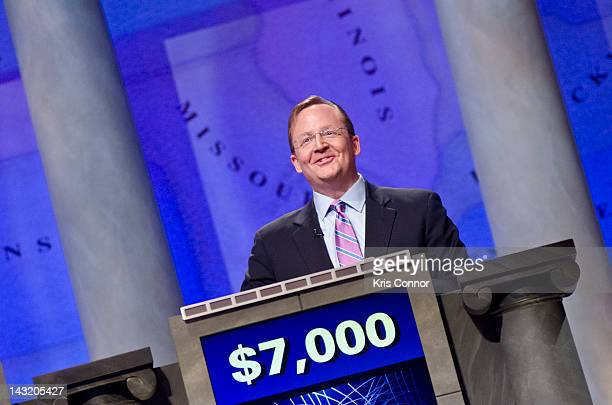 Robert Gibbs speaks during a rehearsal before a taping of Jeopardy Power Players Week at DAR Constitution Hall on April 21 2012 in Washington DC