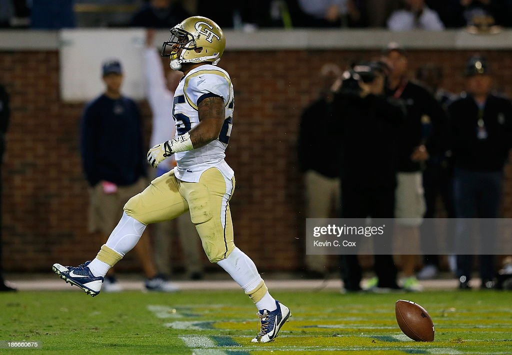 Robert Godhigh #25 of the Georgia Tech Yellow Jackets reacts after scoring a touchdown against the Pittsburgh Panthers at Bobby Dodd Stadium on November 2, 2013 in Atlanta, Georgia.