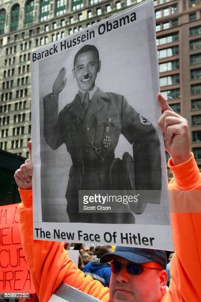 Robert Goerlich participates in a Tea Party protest at the Federal Building Plaza April 15 2009 in Chicago Illinois Tea Party protests calling for an...