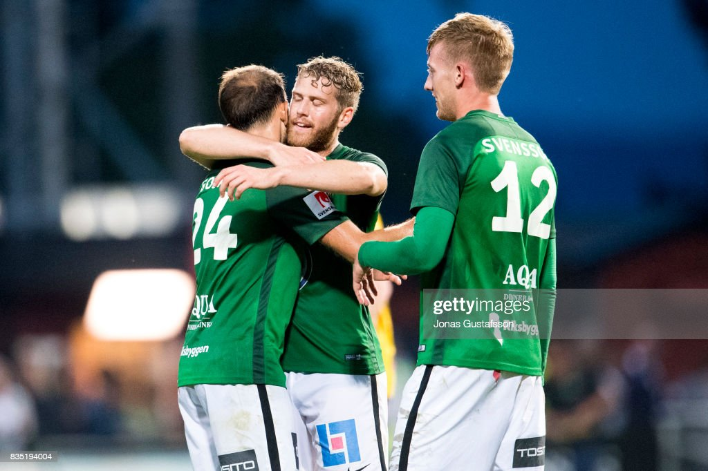 Robert Gojani of Jonkopings Sodra celebrates after scoring 2-2 during the Allsvenskan match between Jonkopings Sodra IF and IF Elfsborg at Stadsparksvallen on August 18, 2017 in Jonkoping, Sweden.