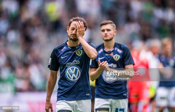 Robert Gojani of Jonkopings Sodra looks dejected after the Allsvenskan match between Hammarby IF and Jonkopings Sodra IF at Tele2 Arena on May 28...