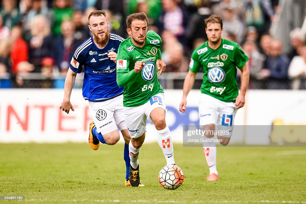 Robert Gojani of Jonkopings Sodra running with the ball during the allsvenskan match between Jonkopings Sodra IF and GIF Sundsvall at Stadsparksvallen on May 28, 2016 in Jonkoping, Sweden.